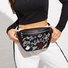 Romwe Cartoon Embroidery Zipper Bum Bag