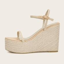 Romwe Two Part Braided Detail Espadrille Wedges