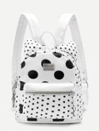 Romwe Polka Dot Ear Design Pu Backpack