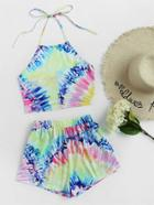 Romwe Bow Back Tie Dye Halter Top With Shorts