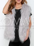Romwe Grey Sleeveless Faux Fur Vest