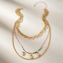 Romwe Shell & Bead Decor Chain Layered Pendant Necklace 1pc