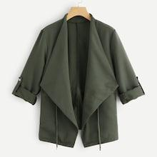 Romwe Drawstring Solid Outerwear
