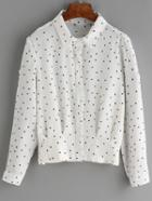 Romwe Lapel Polka Dot Blouse
