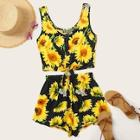 Romwe Sunflower Print Button Front Knot Hem Top With Shorts