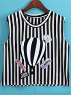 Romwe Vertical Striped Crop Black T-shirt