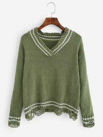 Romwe Ripped V Neckline Sweater
