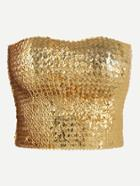 Romwe Gold Crop Sequin Tube Top