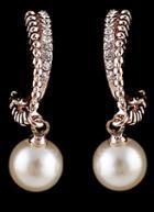 Romwe Gold Pearl Diamond Earrings