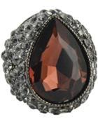 Romwe Purple Gemstone Retro Silver Diamond Ring