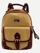 Romwe Yellow Contrast Trim Buckled Strap Backpack