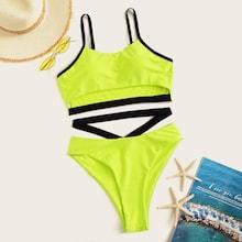 Romwe Neon Lime Contrast Piping Top With High Leg Bikini