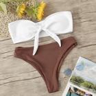 Romwe Tie Front Ribbed Bandeau Bikini Set