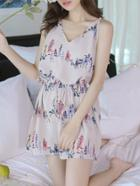 Romwe Cartoon Print Knot Romper