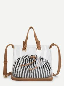 Romwe Clear Shoulder Bag With Striped Pouch