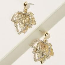Romwe Rhinestone Engraved & Hollow Out Leaf Shaped Drop Earrings 1pair