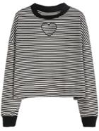 Romwe Black White Striped Drop Shoulder Heart Embroidered Sweatshirt