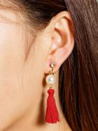 Romwe Faux Pearl And Tassel Decorated Drop Earrings