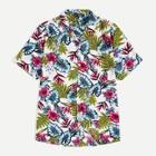 Romwe Guys Notched Collar Tropical Shirt