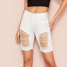 Romwe Destroyed Ripped Bermuda Denim Shorts