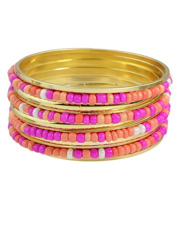 Romwe Hotpink Beads Bracelets And Bangles