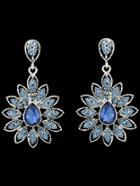 Romwe Blue Drop Diamond Flower Earrings