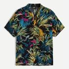 Romwe Guys Revere Collar Tropical Shirt