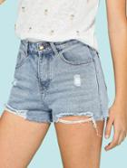 Romwe Hole Denim Shorts