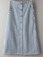 Romwe Multicolor Pockets Buttons Front Stripe Skirt