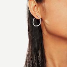 Romwe Cut Water-drop Rhinestone Hoop Earrings 1pair
