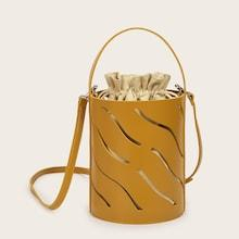 Romwe Hollow Out Bucket Bag With Drawstring