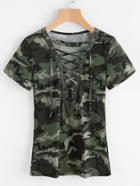 Romwe Camouflage Print Lace Up Front Tee