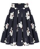 Romwe Flowers Print Chiffon Pleated Black Skirt