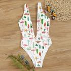 Romwe Random Tropical Print Plunge Neck One Piece Swimsuit