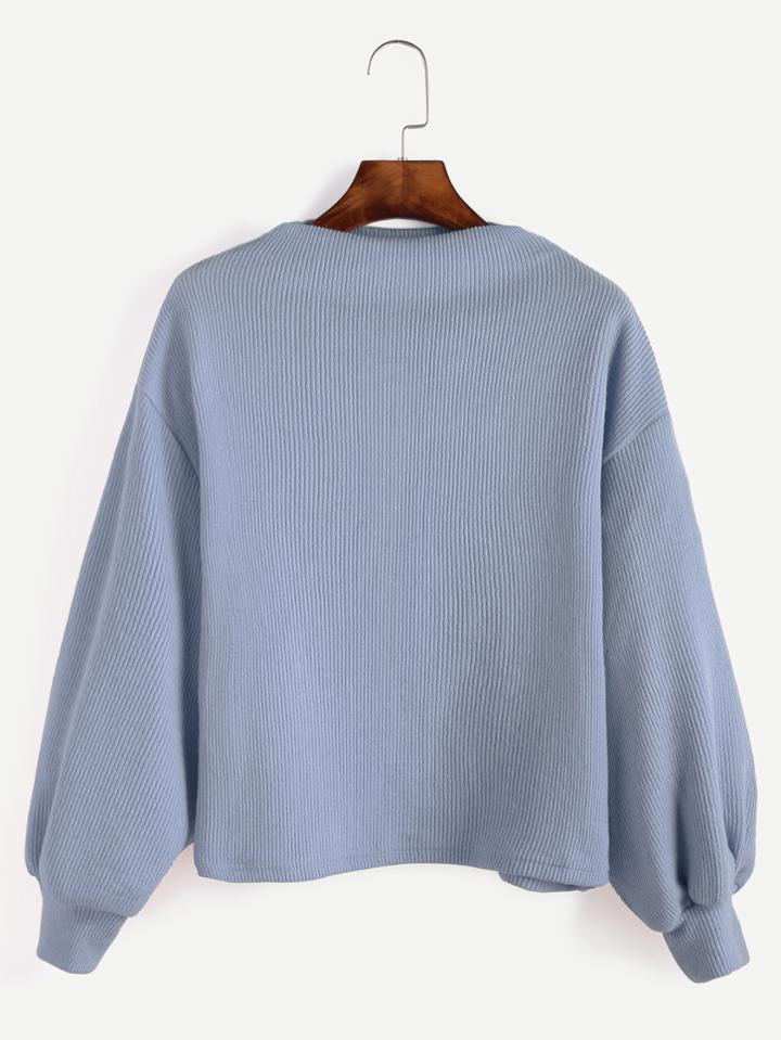 Romwe Blue Ribbed Lantern Sleeve Sweater