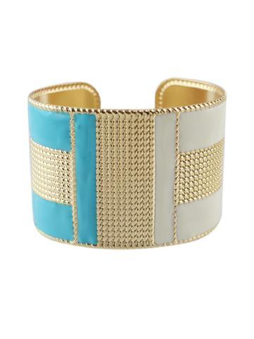 Romwe Blue-w Steampunk Cuff Bracelets Bangles