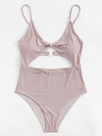 Romwe Polka Dot Knot Front Swimsuit