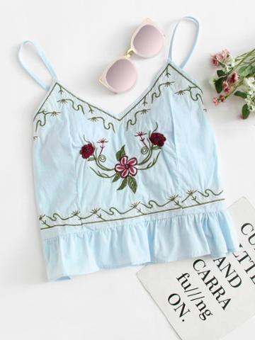 Romwe Ruffle Hem Floral Embroidered Cami Top