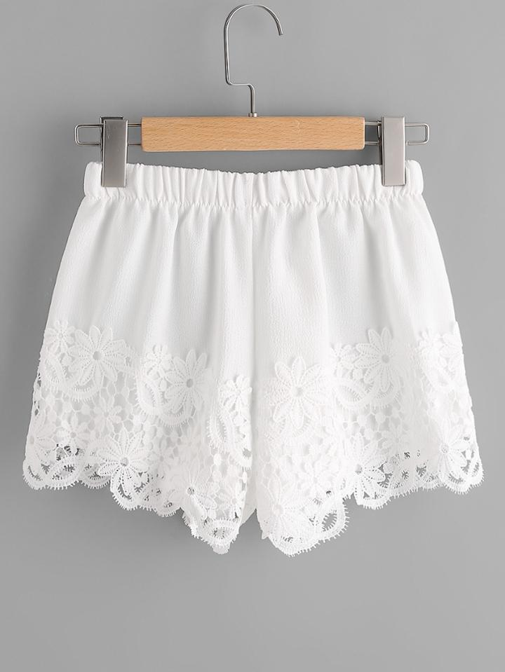 Romwe Lace Panel Shorts