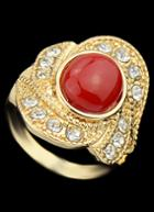 Romwe Red Gemstone Gold Diamond Ring