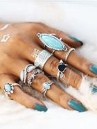 Romwe Heart & Flower Design Ring Set With Turquoise