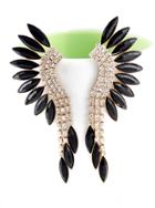 Romwe Black Gemstone Gold Crystal Elegant Earrings