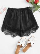 Romwe Elastic Waist Lace Panel Shorts