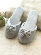 Romwe Bow Detail Rib Slippers