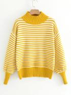 Romwe Lantern Sleeve Striped Sweater