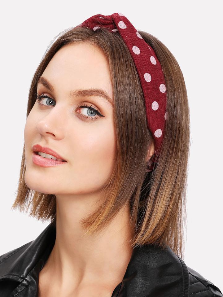 Romwe Polka Dot Twist Headband