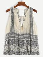 Romwe Paisley Print Tie Neck Cut Out Fringe Tank Top