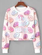 Romwe Donuts Print Sweatshirt