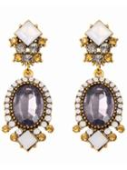Romwe Crystals Gemstone Earrings