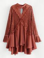 Romwe Lace Panel Asymmetrical Dress